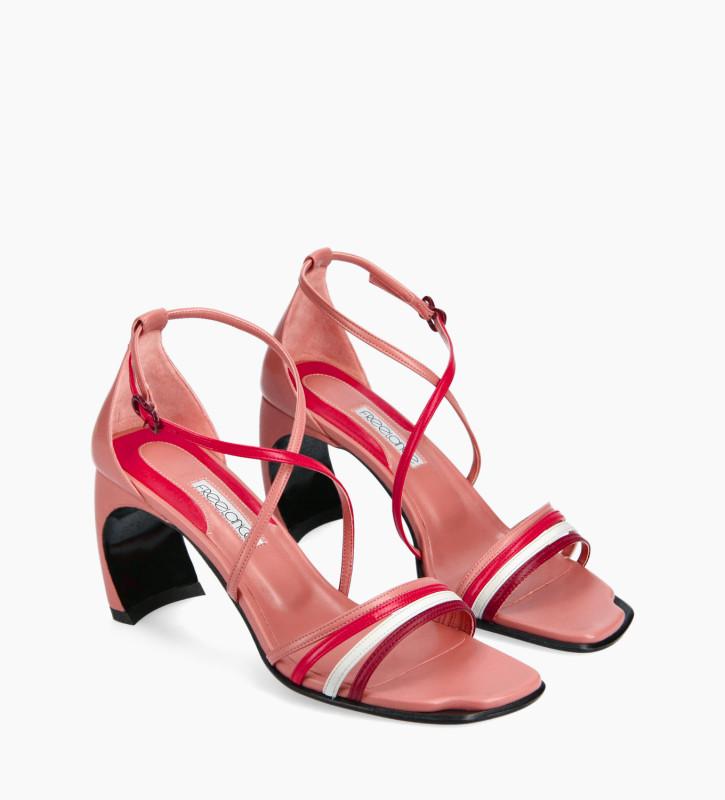FREE LANCE Sandale à brides croisées à talon - Cambre 70 - Cuir nappa - Rose/Rouge/Blanc