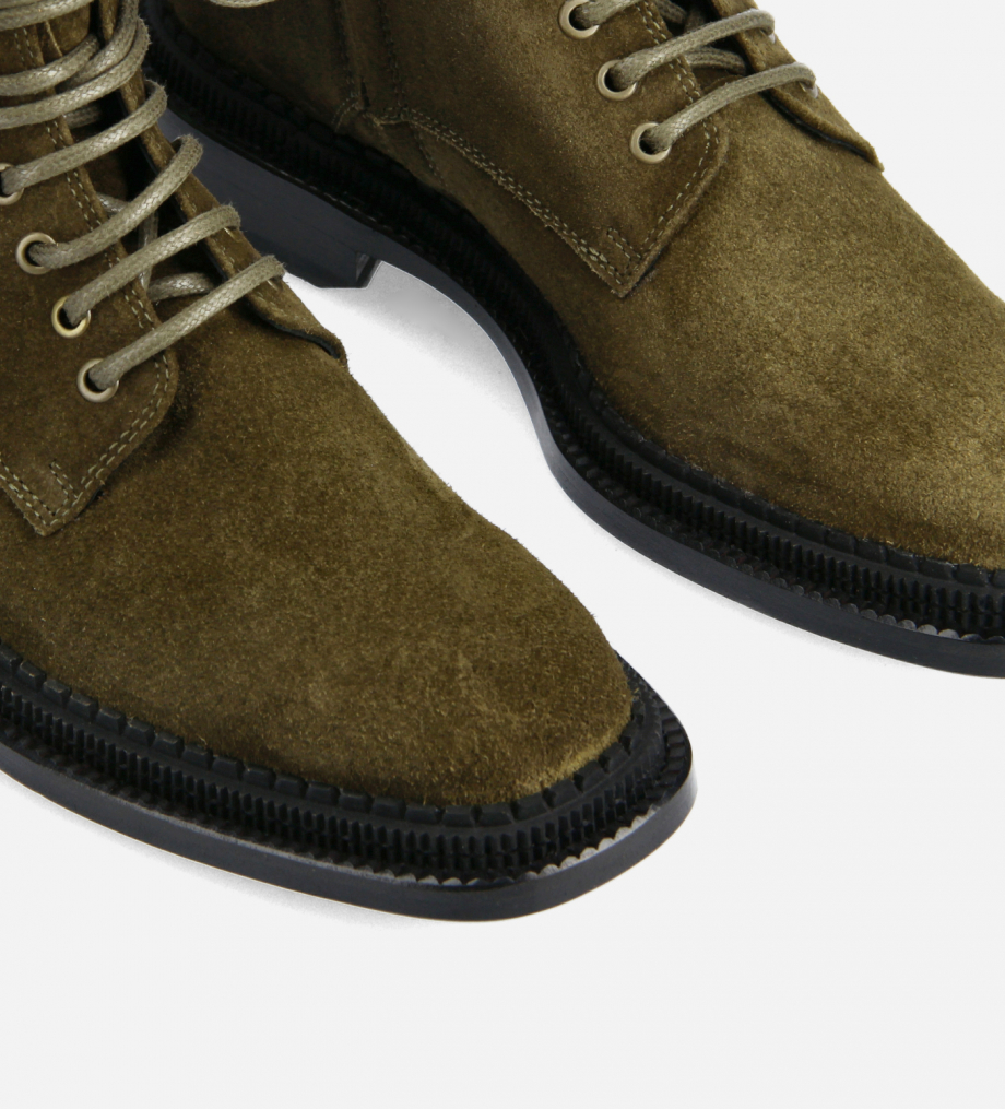 FREE LANCE Lace-up ankle boot - Chris 35 - Suede leather - Khaki