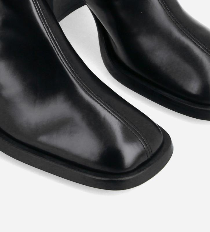 FREE LANCE Botte à talon à bout carré - Clio 70 - Cuir de veau lisse brillant- Noir