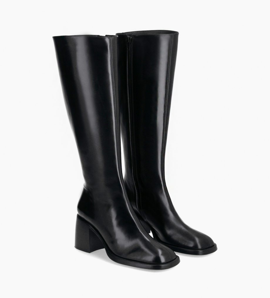 FREE LANCE Squared high boot - Clio 70 - Smooth calf leather- Black