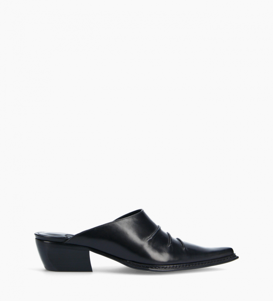 FREE LANCE Western mule - Deal 35 - Smooth calf leather- Black