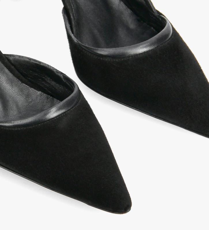 FREE LANCE Escarpin à bride arrière à talon aiguille - Demi 65 - Cuir de chèvre velours/Cuir nappa - Noir