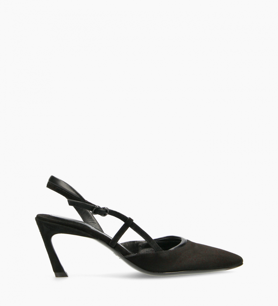 FREE LANCE Padded pointy slingback pump - Demi 65 - Goat suede leather/Nappa lambskin leather - Black