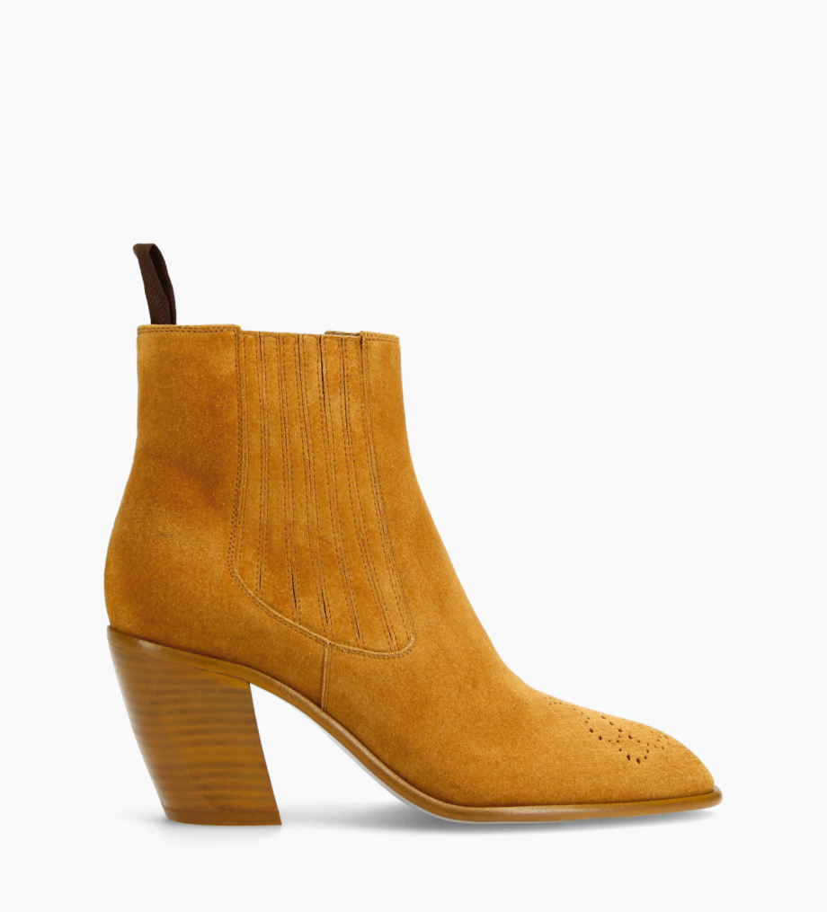 FREE LANCE Chelsea Western ankle boot - Dusty 65 - Suede leather - Camel