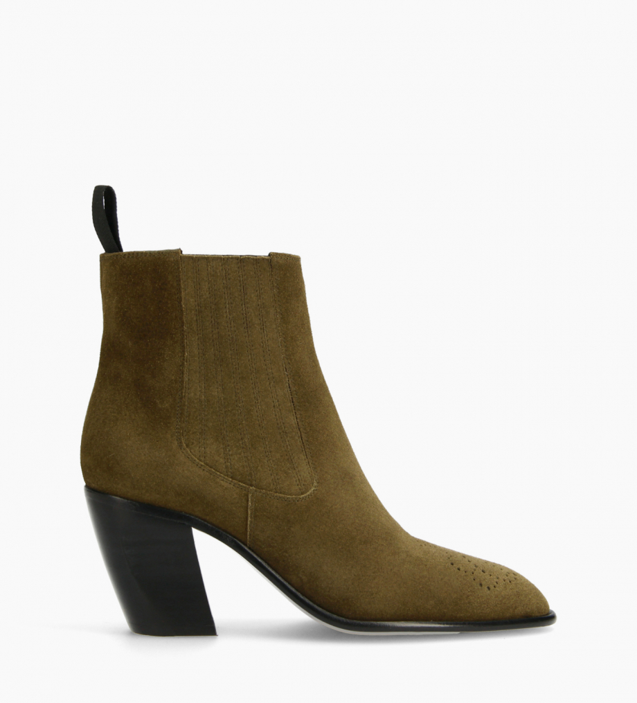 FREE LANCE Chelsea Western ankle boot - Dusty 65 - Suede leather - Khaki