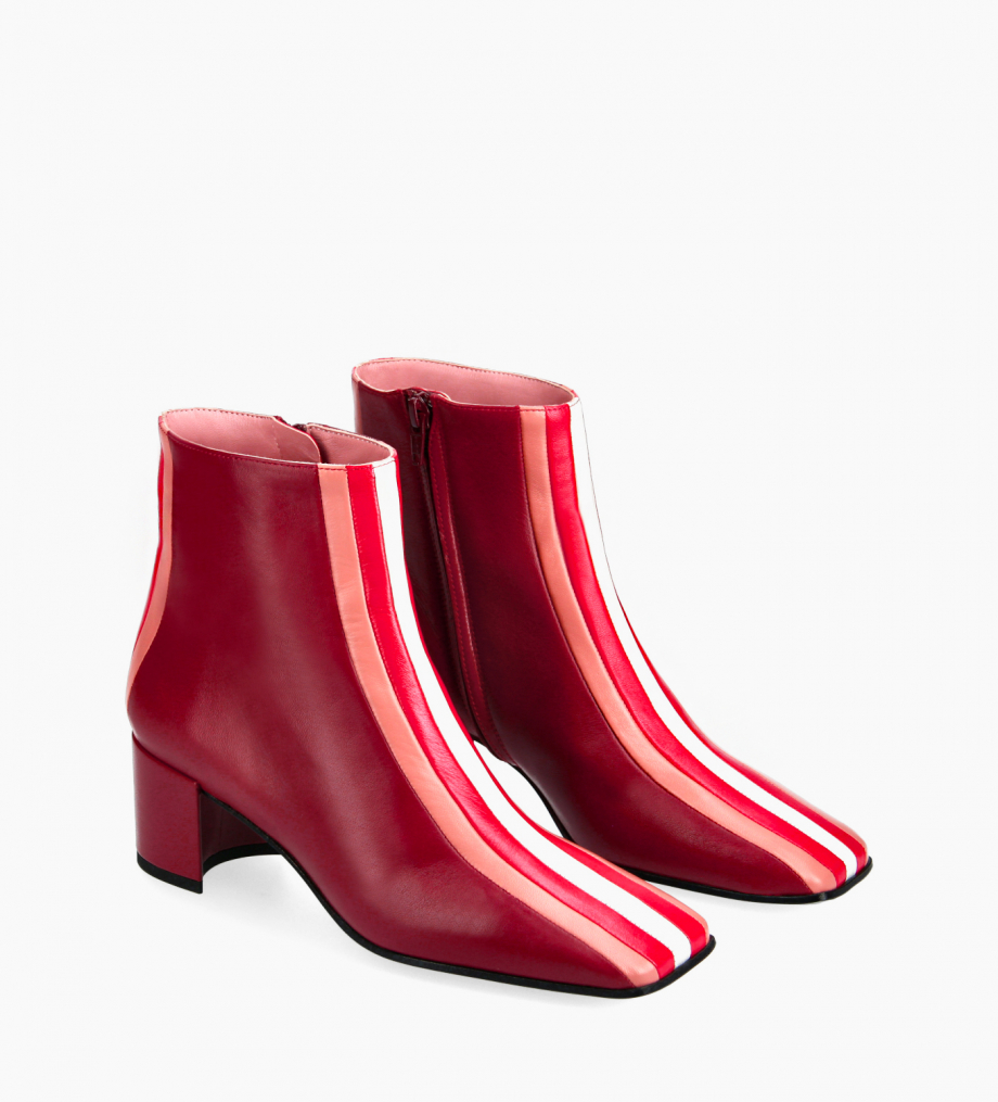 FREE LANCE Stripped ankle boot - Edie 50 - Nappa lambskin leather - Bordeaux/Pink