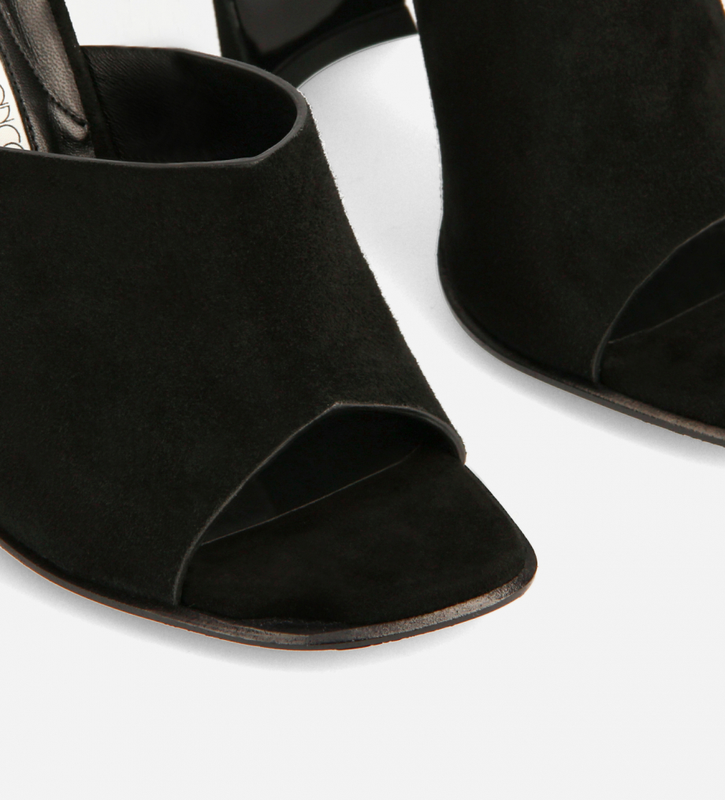 FREE LANCE Heeled elasticated mule sandal - Elle 100 - Goat suede leather/Nappa lambskin leather - Black