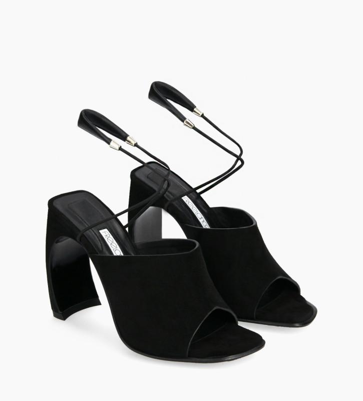 FREE LANCE Sandale à brides à talon - Elle 100 - Cuir de chèvre velours/Cuir nappa - Noir