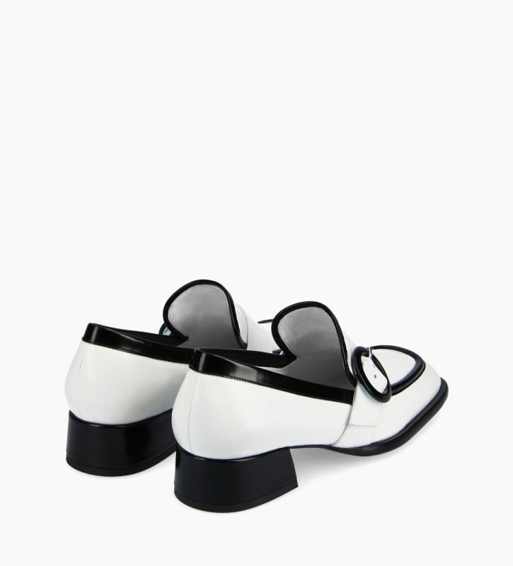 FREE LANCE Mocassin à boucle à bout carré - Fin 35 - Cuir glacé - Blanc/Noir