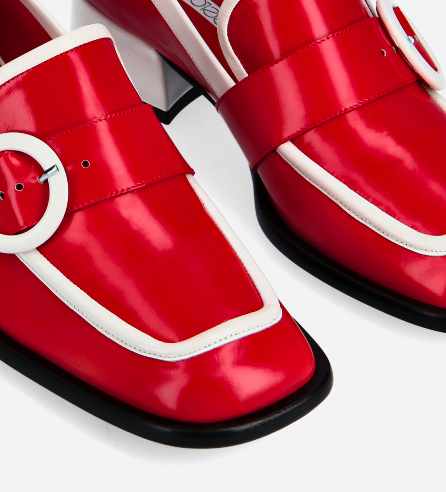FREE LANCE Squared loafer with buckle - Fin 35 - Glazed leather - Red/White