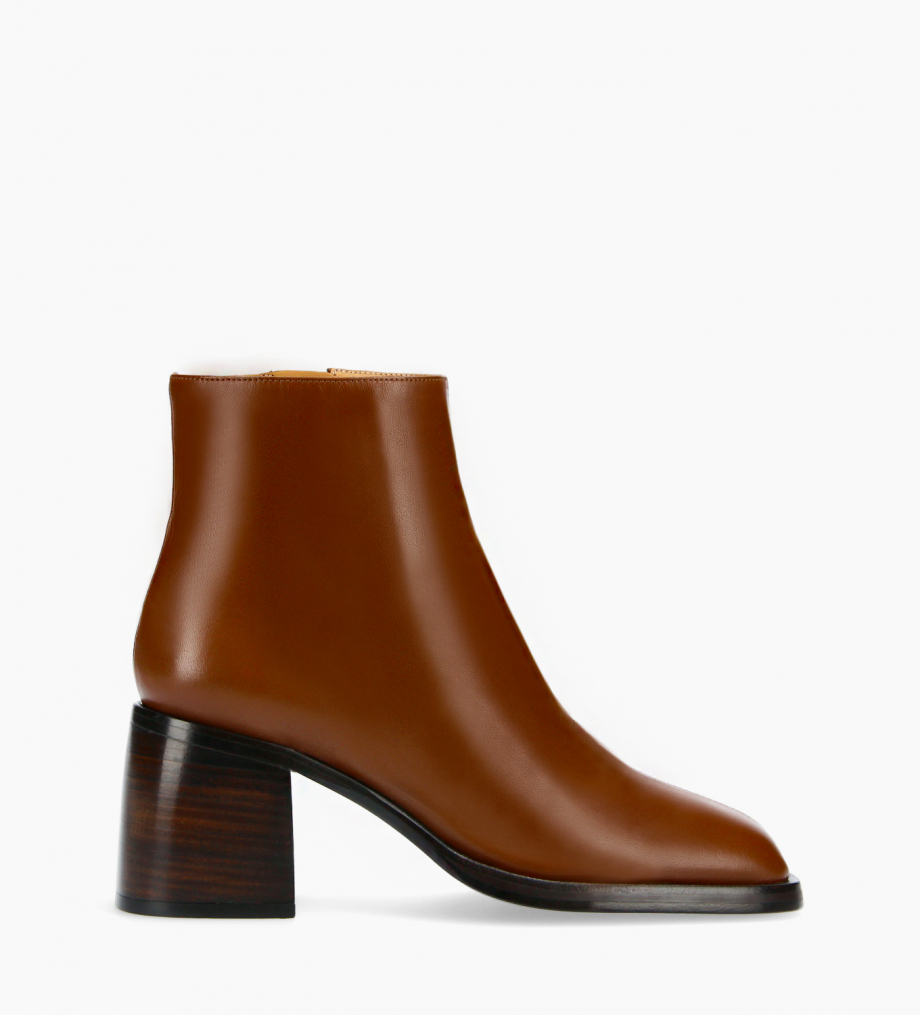 FREE LANCE Squared ankle boot - Gray 70 - Nappa lambskin leather - Dark brown