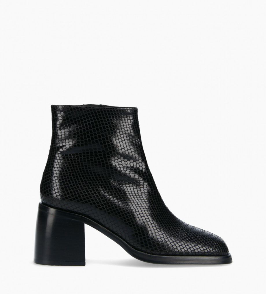 FREE LANCE Squared ankle boot - Gray 70 - Snake print leather - Black