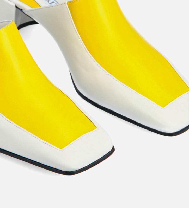 FREE LANCE Mule bi-couleur à talon à bout carré - Hana 50 - Cuir nappa - Blanc/Jaune