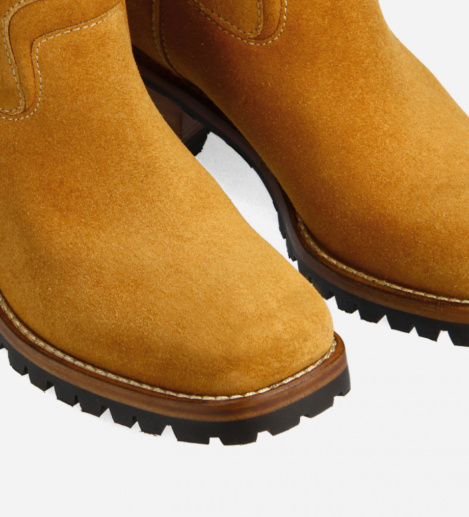 FREE LANCE Squared biker boot - Jac 45 - Suede leather - Camel