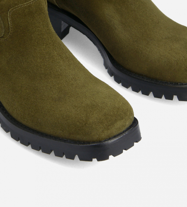 FREE LANCE Squared biker boot - Jac 45 - Suede leather - Khaki