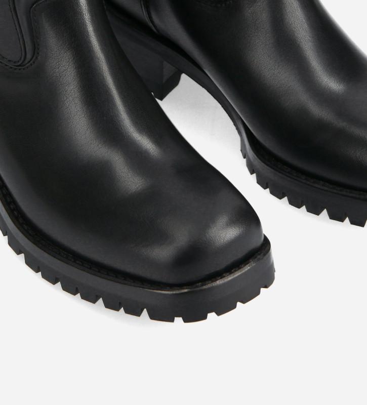 FREE LANCE Boot biker à bout carré - Jac 45 - Cuir de vachette - Noir