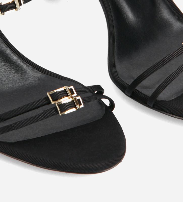 FREE LANCE Sandale mule à brides - Jade 65 - Toile gros grain - Noir