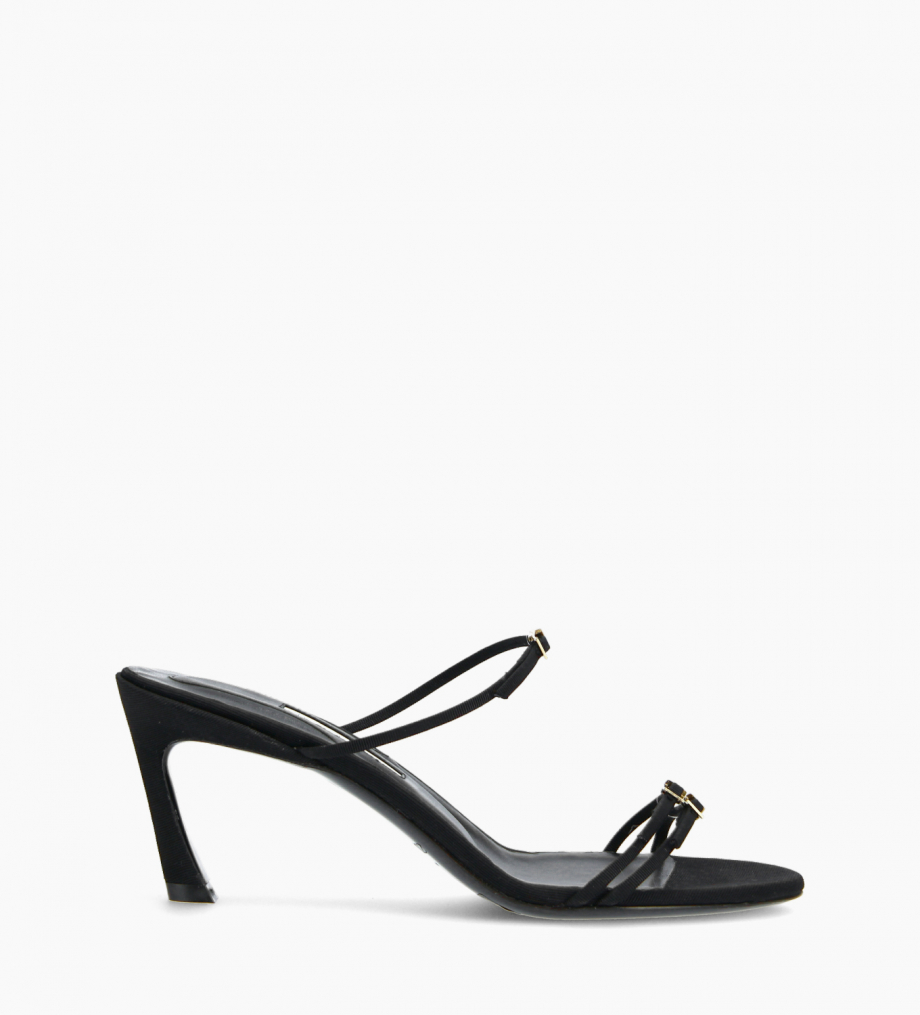 FREE LANCE Heeled strappy mule - Jade 65 - Grained leather - Black
