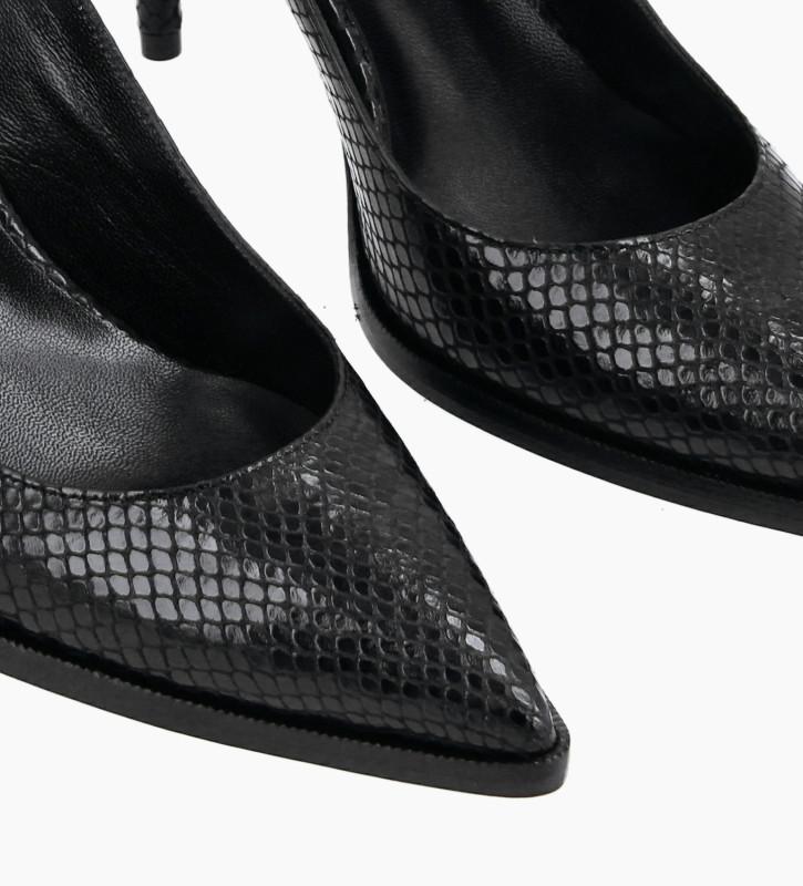 FREE LANCE Sling-back pump with stiletto heel - Jamie 7 - Python-print leather - Black