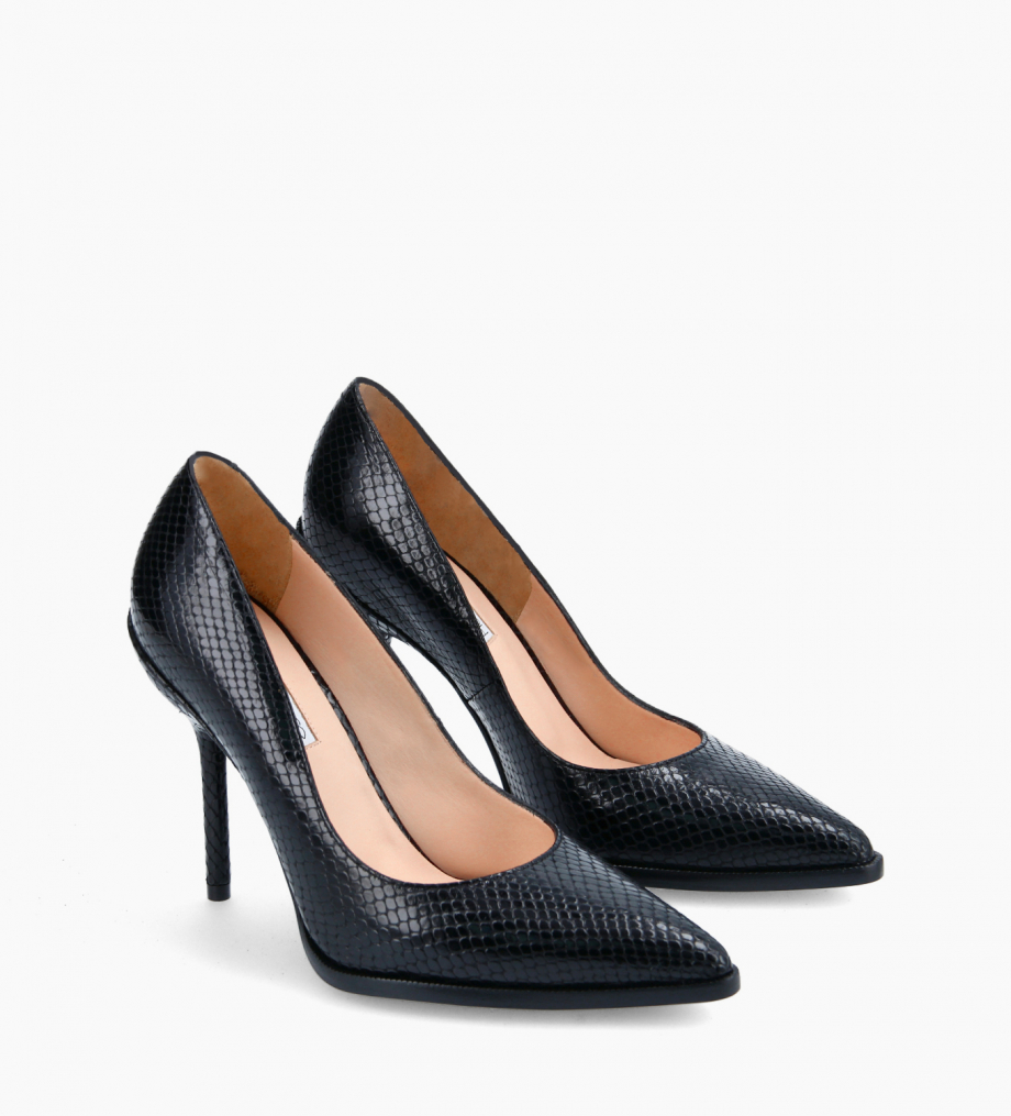 FREE LANCE Pump with pointed toe and stiletto heel - Jamie 10 - Cuir imprimé serpent - Black