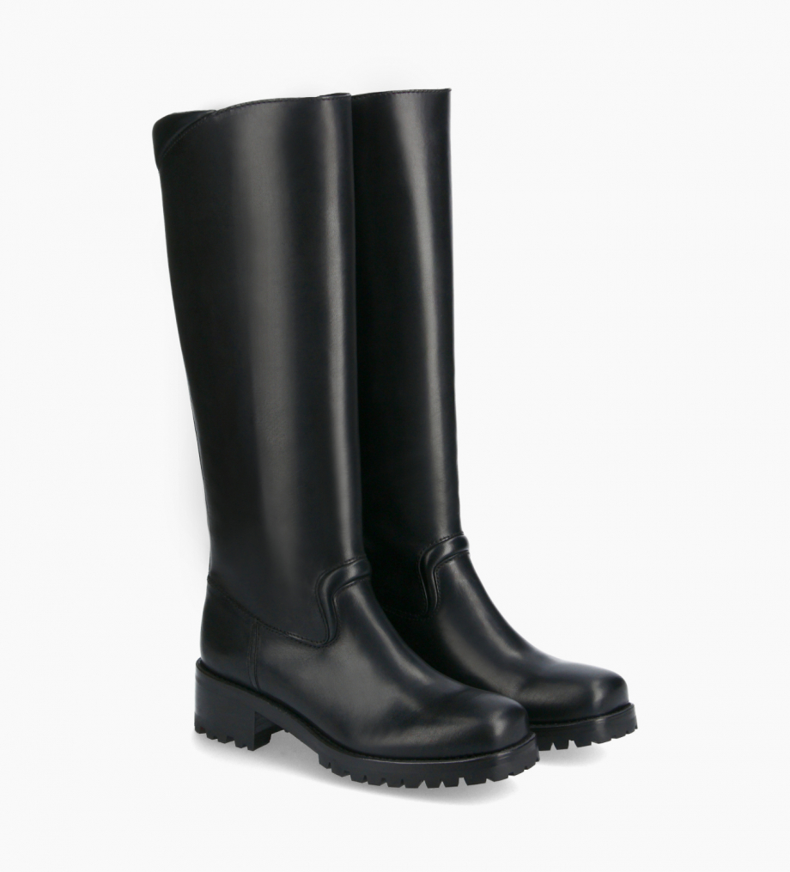 FREE LANCE Squared biker high boot - Jena 45 - Matt smooth leather - Black