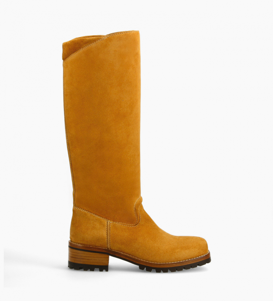 FREE LANCE Squared biker high boot - Jena 45 - Suede leather - Camel