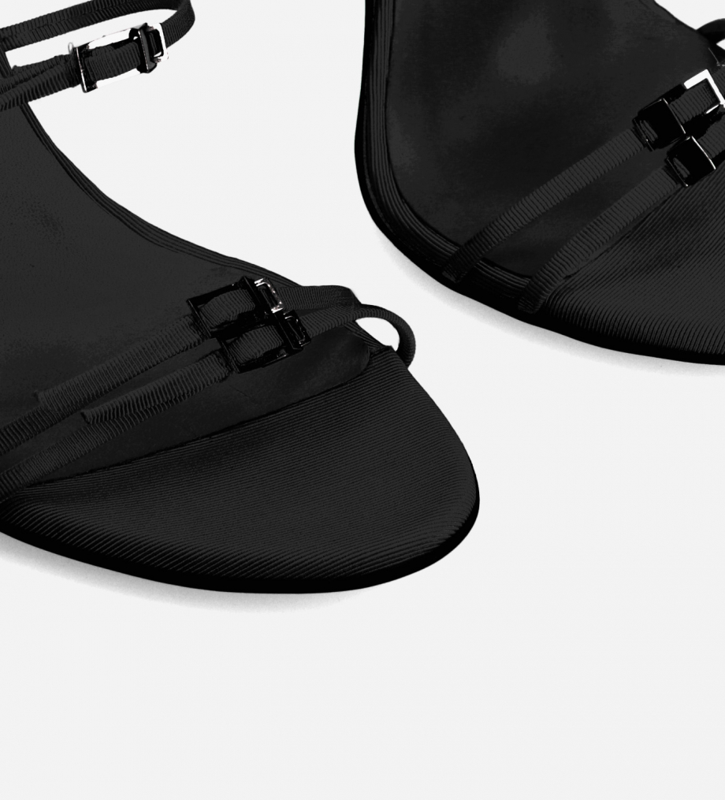 FREE LANCE Heeled strappy sandal - Julie 100 - Grained leather - Black