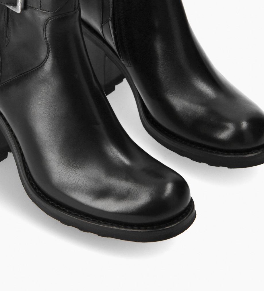FREE LANCE Biker boot with buckle - Justy 7 - Smooth leather - Black