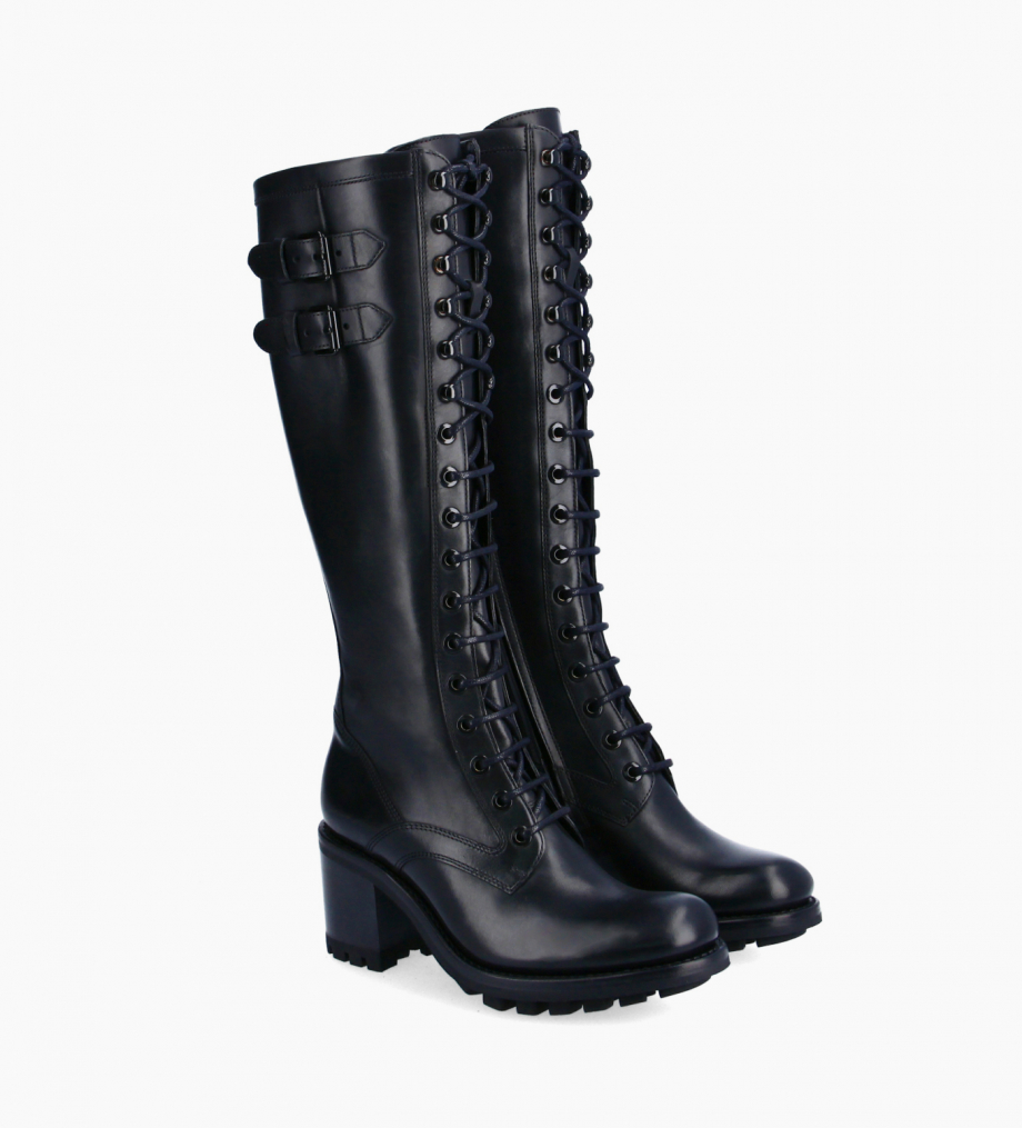 FREE LANCE Lace-up biker high boot with buckle - Justy 7 - Smooth leather - Black