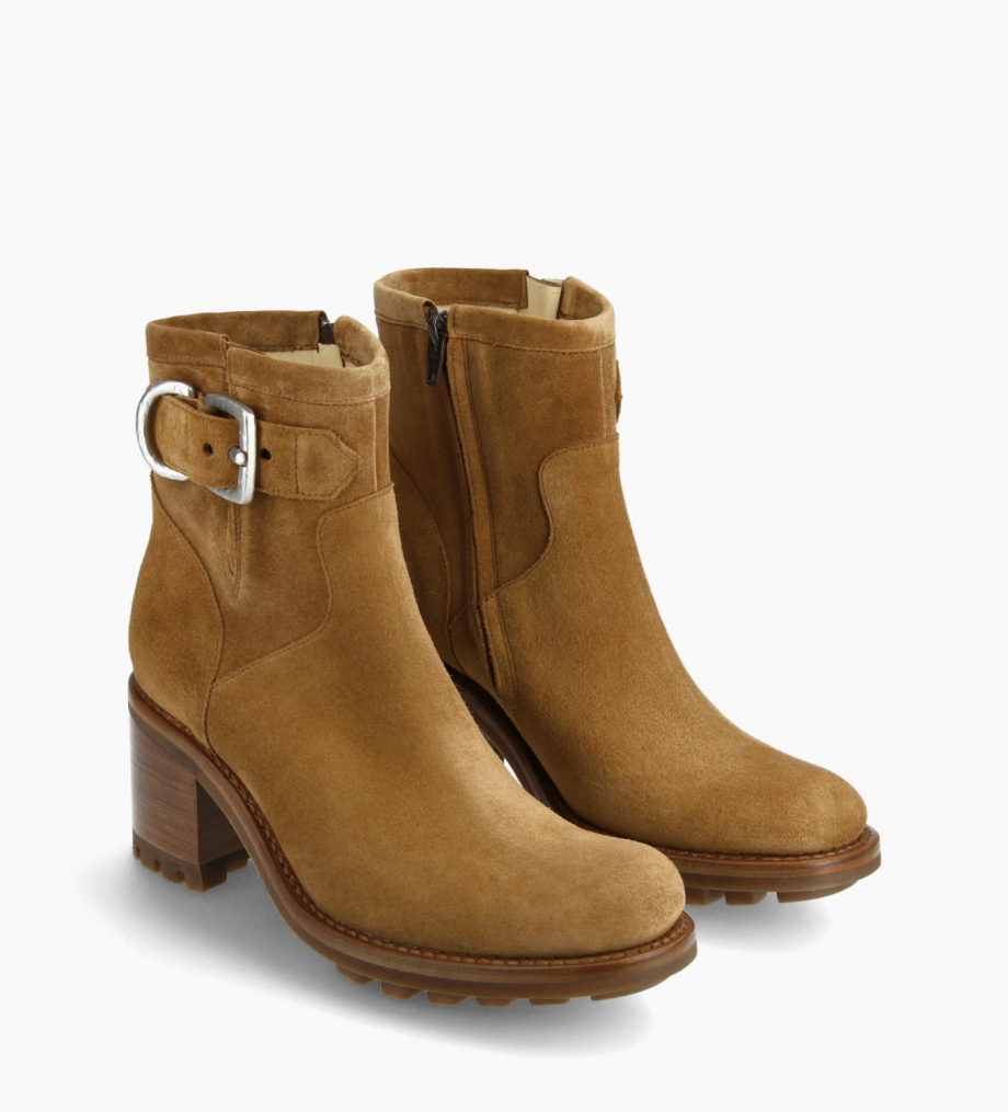 FREE LANCE Biker boot with buckle - Justy 7 - Suede leather - Brown