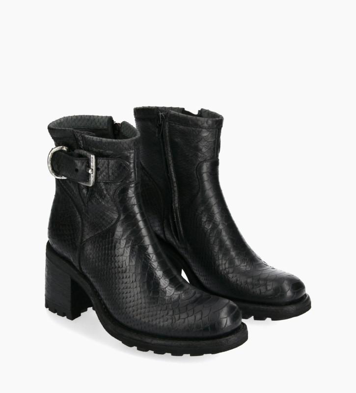 FREE LANCE Boot biker à boucle - Justy 7 - Cuir lavé embossé python - Noir