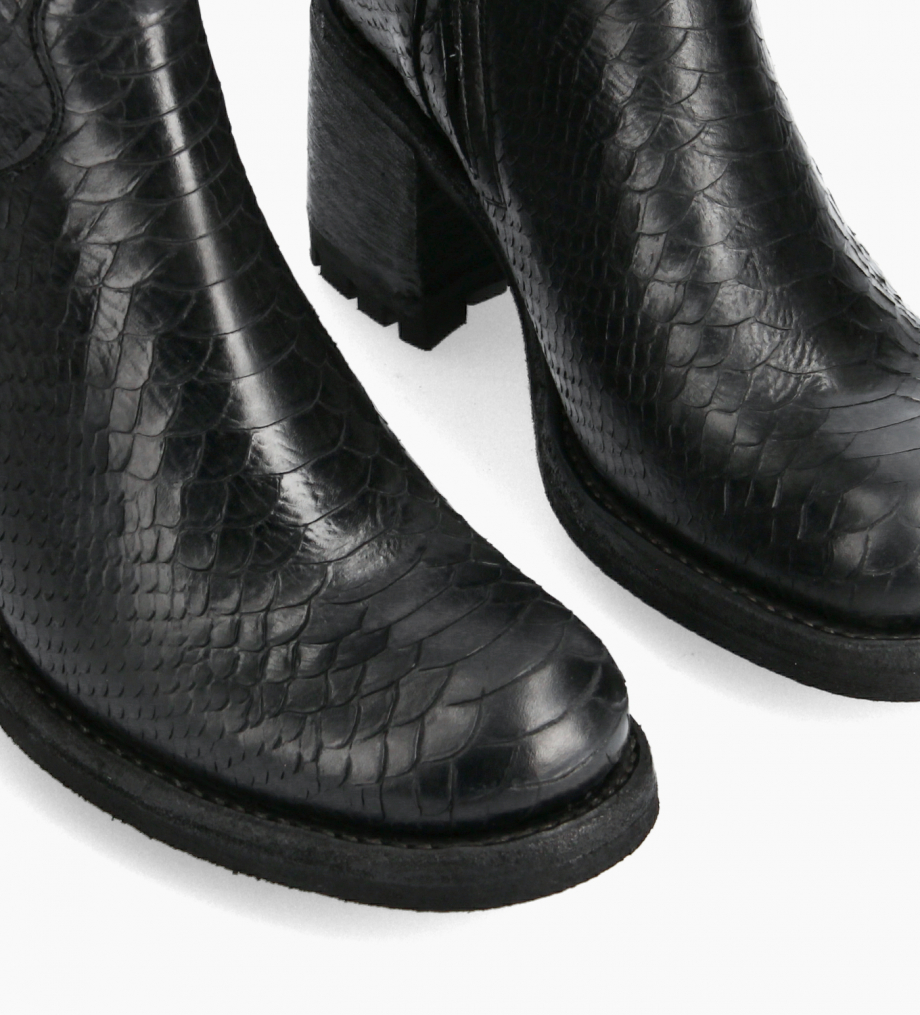 FREE LANCE Biker boot with buckle - Justy 7 - Washed embossed python leather - Black