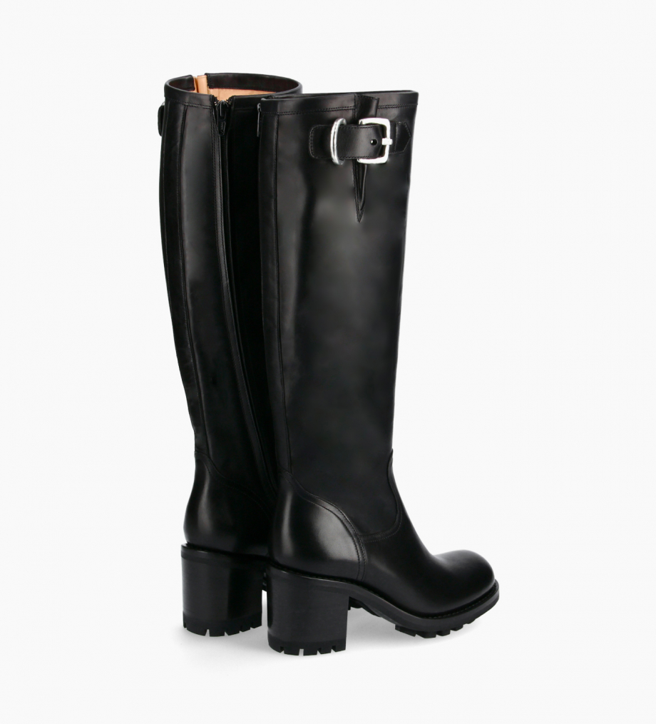 FREE LANCE Biker high boot with zip and buckle - Justy 7 - Smooth leather - Black