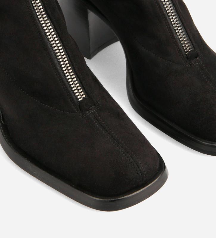 FREE LANCE Botte cuissarde zippée à talon carré - Kit 70 - Velours stretch - Noir