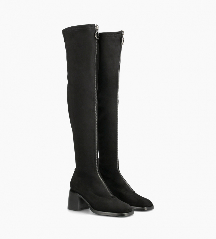 FREE LANCE High sock boot with zip - Kit 70 - Suede stretch - Black