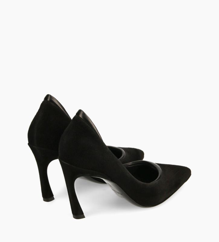 FREE LANCE Padded pointy stileto pump - La Rose 85 - Goat suede leather/Nappa lambskin leather - Black