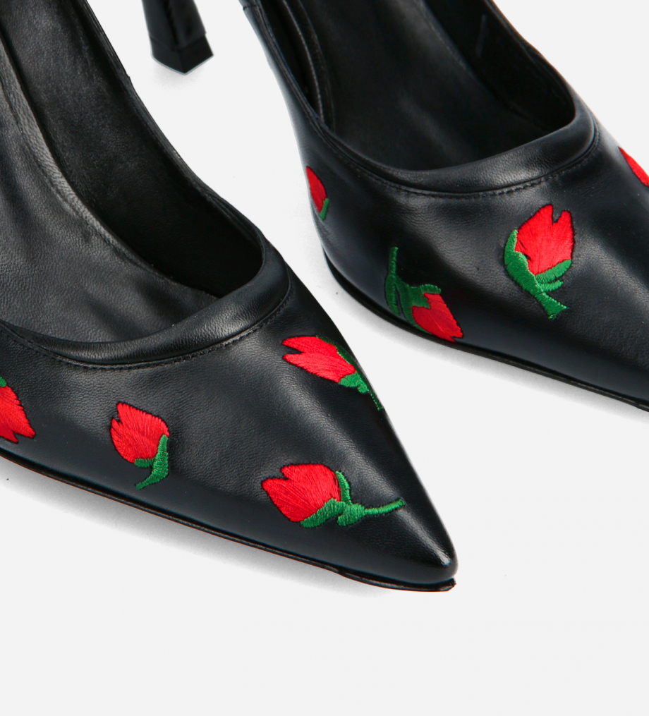 FREE LANCE Embroidered padded pointy stileto pump - La Rose 85 - Nappa lambskin leather - Black/Red