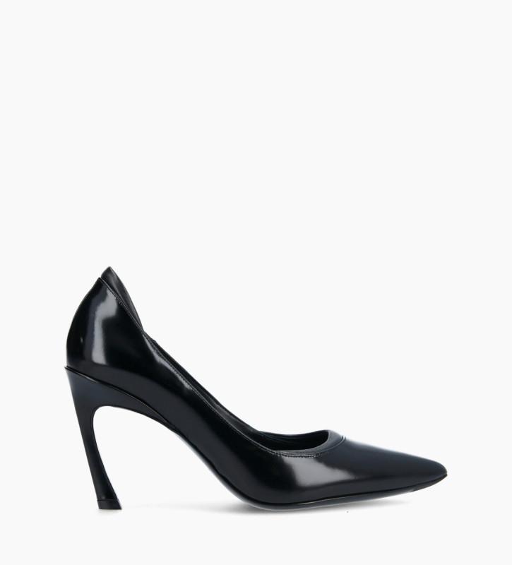 FREE LANCE Padded pointy stileto pump - La Rose 85 - Glazed leather/Nappa lambskin leather - Black
