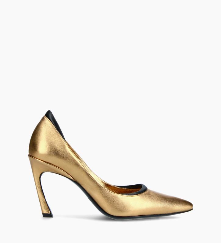 FREE LANCE Padded pointy stileto pump - La Rose 85 - Metallic leather/Nappa lambskin leather - Gold/Black