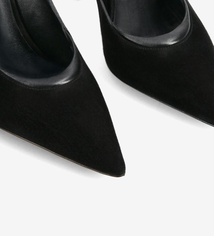 FREE LANCE Escarpin à talon aiguille à bout pointu - La Rose 100 - Cuir de chèvre velours/Cuir nappa - Noir