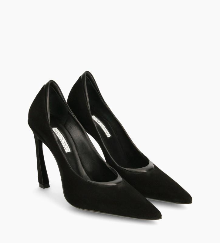 FREE LANCE Padded pointy stileto pump - La Rose 100 - Goat suede leather/Nappa lambskin leather - Black