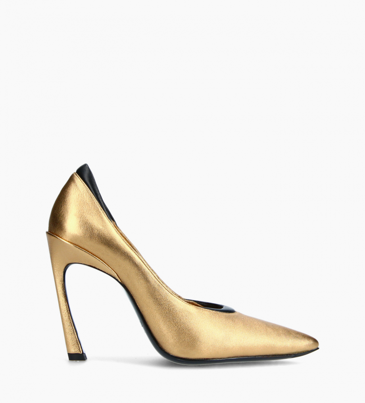 FREE LANCE Padded pointy stileto pump - La Rose 100 - Metallic leather/Nappa lambskin leather - Gold/Black