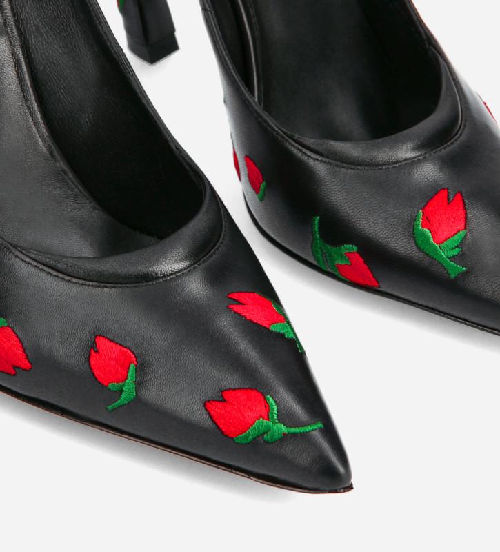 FREE LANCE Escarpin brodé à talon aiguille à bout pointu - La Rose 100 - Cuir nappa - Noir/Rouge