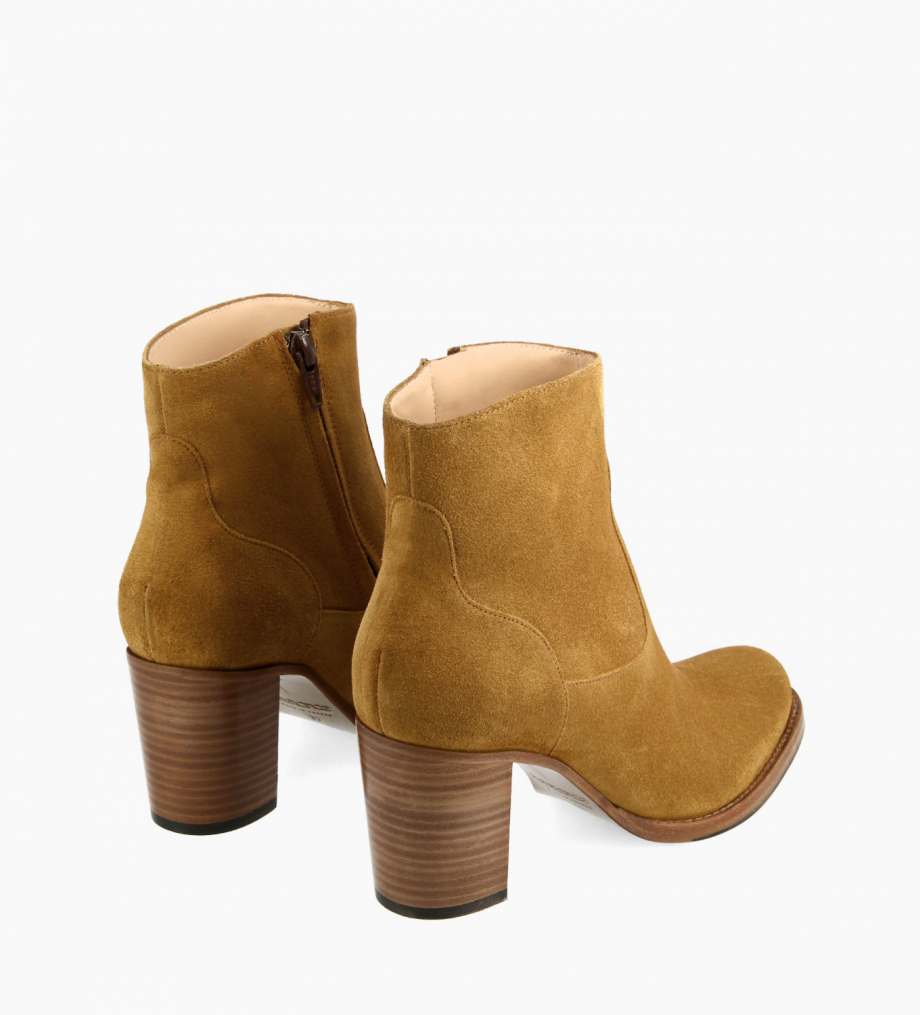 FREE LANCE Ankle boot with block heel and zip - Legend 7 - Suede leather - Brown