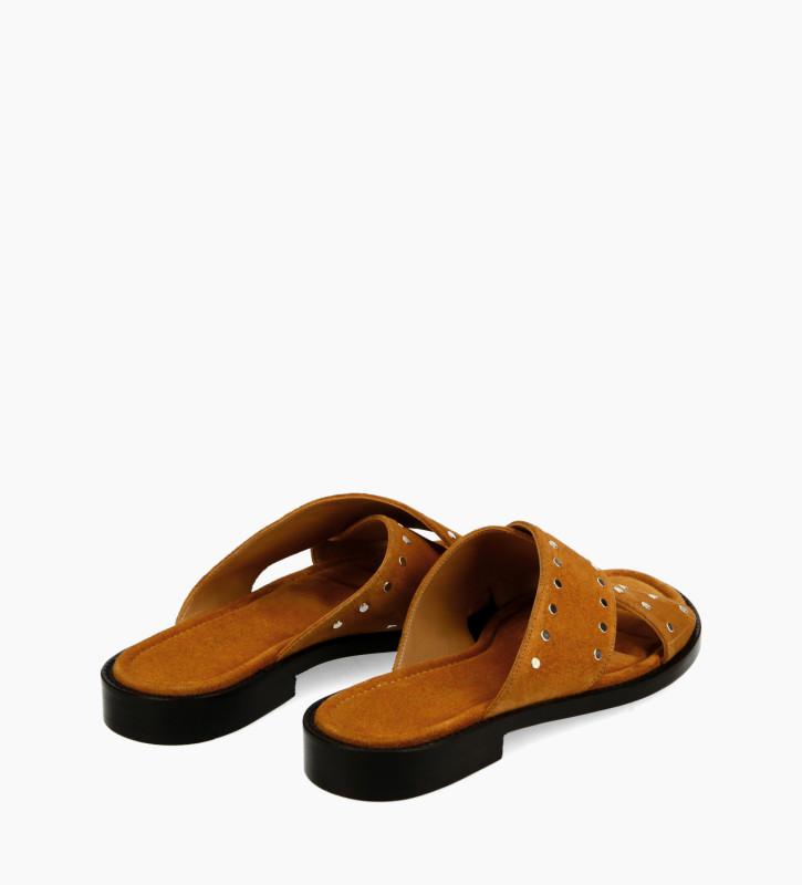FREE LANCE Cross strap sandal - Lennie - Suede leather - Camel