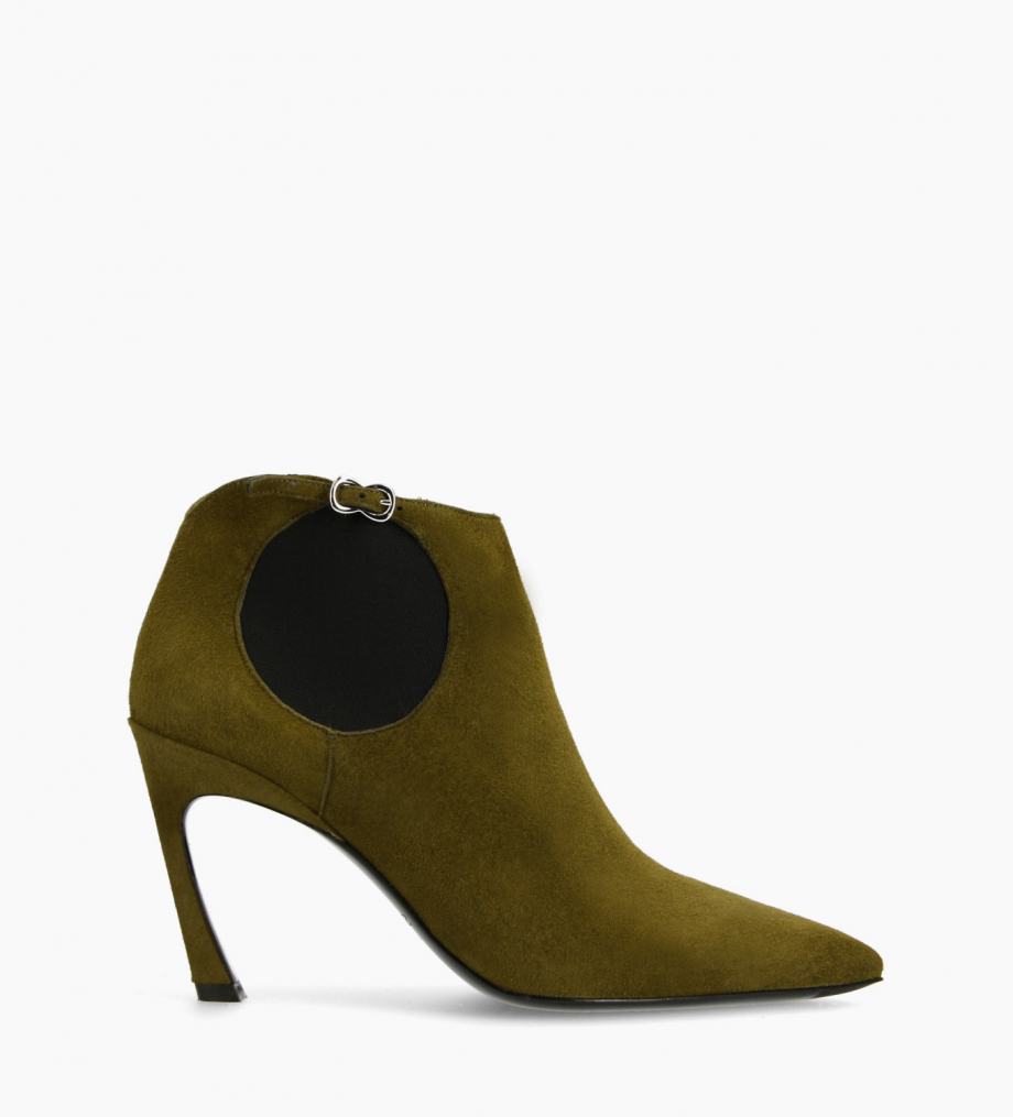 FREE LANCE Pointy heeled chelsea boot - Lune 85 - Goat suede leather - Khaki