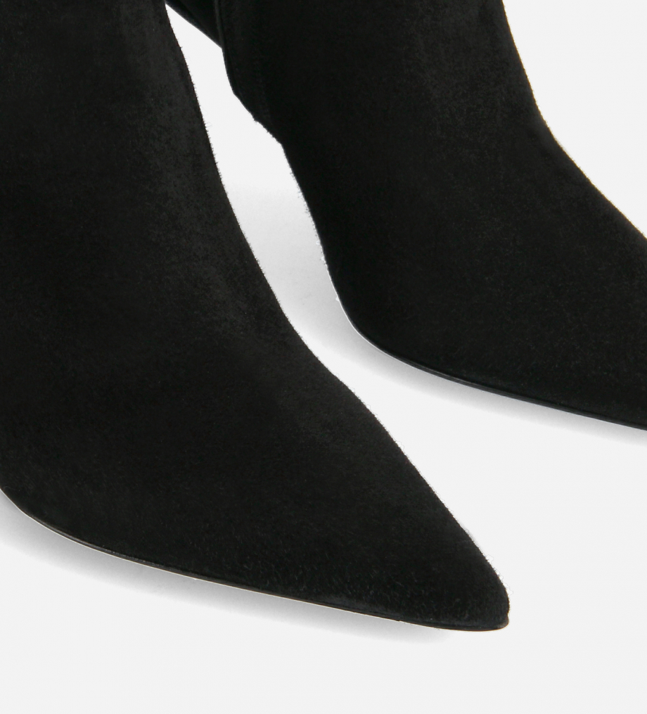 FREE LANCE Pointy heeled chelsea boot - Lune 85 - Goat suede leather - Black