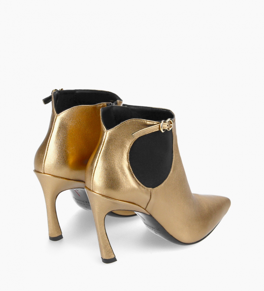 FREE LANCE Pointy heeled chelsea boot - Lune 85 - Metallic leather - Gold