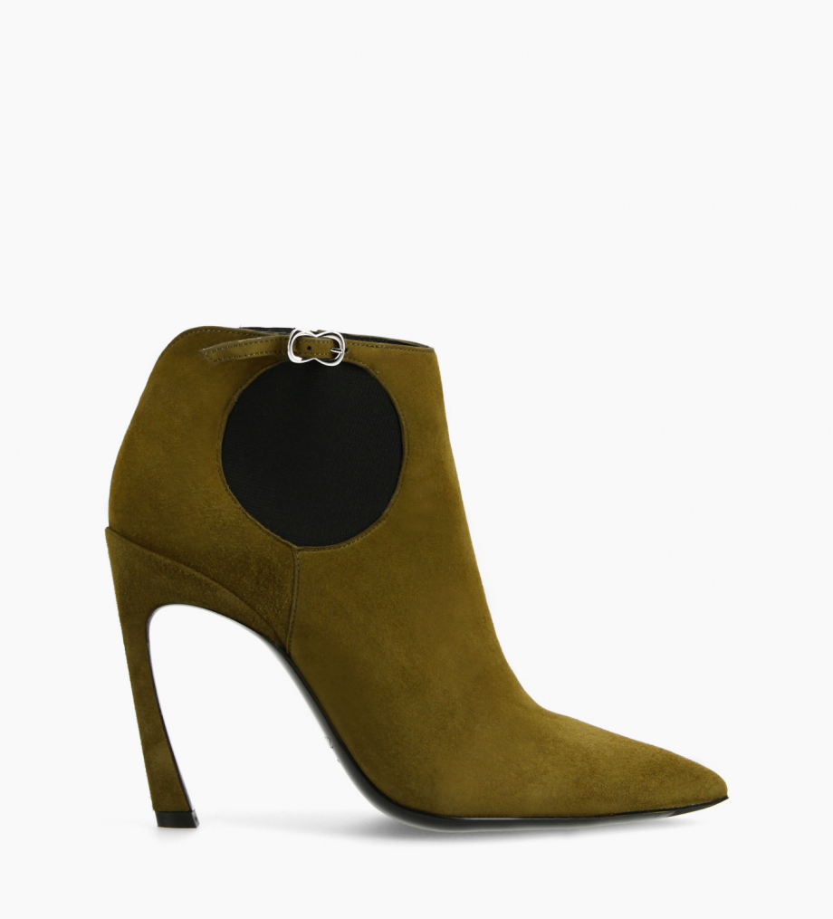 FREE LANCE Pointy heeled chelsea boot - Lune 100 - Goat suede leather - Khaki