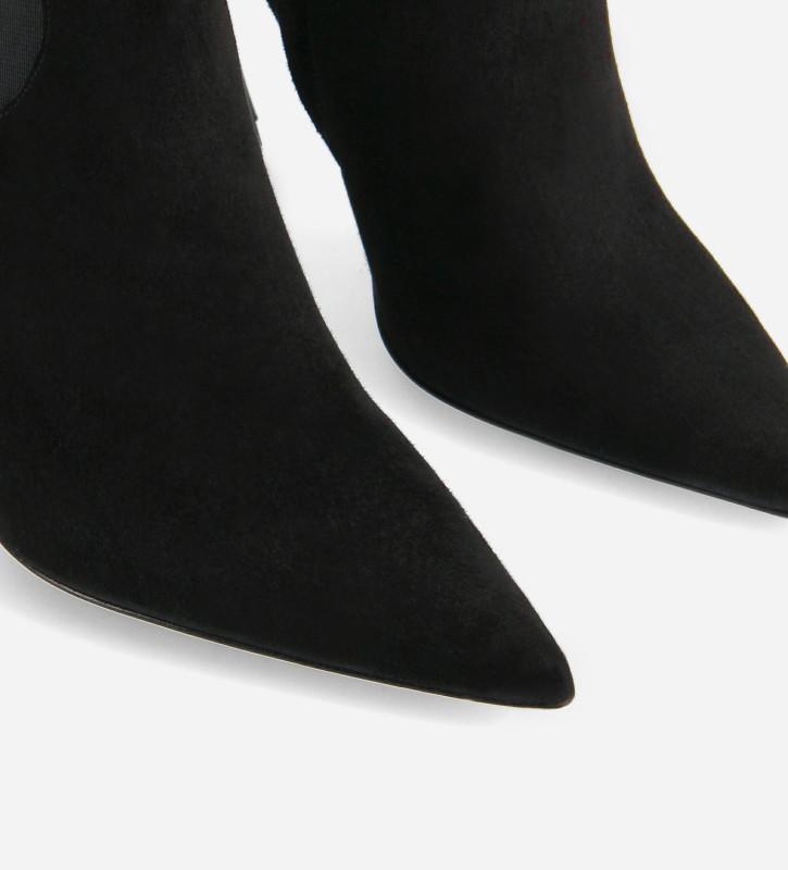 FREE LANCE Bottine à talon aiguille à bout pointu - Lune 100 - Cuir de chèvre velours - Noir